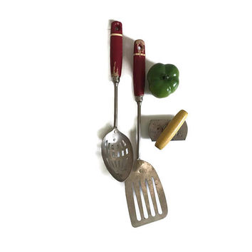 Vintage Kitchen Utensils Wood Handles with Red Chippy Paint Vintage Jar Opener Top Off Instant Collection Kitchen Utensil Decor Farmhouse