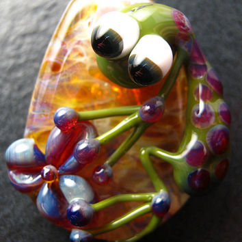 Jewelry necklace pendant - Glass flower frog lampwork pendant focal bead  - Boomwire Glass jewelry
