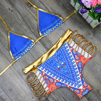 2017 Hot Sexy Gold High Waist Bikini Hollow Out Bandage Swimsuit Cut Out Sexy Strappy Swimwear Bathing Suit two pieces