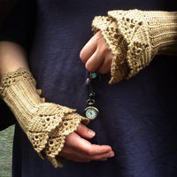 It's time  crocheted layered wrist warmers by hypericumfragile
