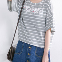 Stripe Letter Print Loose Sleeve T-Shirt