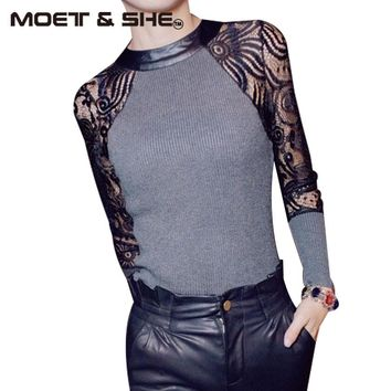 Hot Sale!  Autumn and Winter T shirt Women Sexy Floral Lace Knitting Night Club Tops roupas femininas blusa renda M-XL 01011