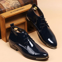 London Homme Style Men's Shinning Leather Boots