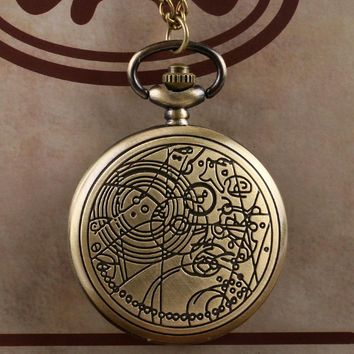 Bronze Doctor Who Pocket Watches Beautiful Compass Pattern Vintage Quartz Pocket Watch with Chain Necklace for Women and Men