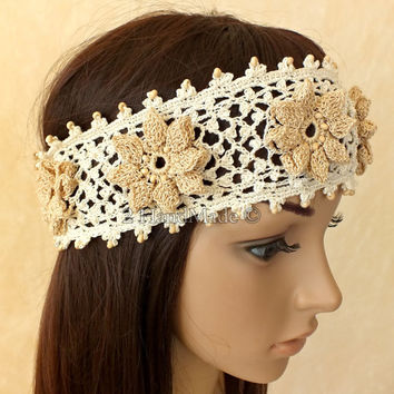 OOAK Irish Lace 3D Crochet Headband Dreadlock Head Wrap Boho of White Beige Wood Beaded Women Ivory Wedding Bridal Cotton Hair Snood