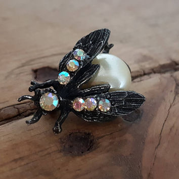 Vintage Bee Wasp Brooch Aurora Borealis Faux Pearl Jelly Belly Bug Insect Pin