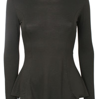 Tanisha Scoop Neck Long Sleeve Peplum Top in Black