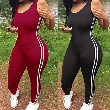 2018 New Brand Sleeveless Cotton Striped Women Fitness Jumpsuit