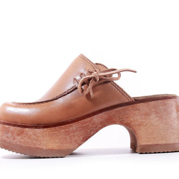 90s Vintage Platform Clogs Tan Leather and Wood Mules 70s Style Boho Hippie Retro Shoes Sandals Women Size US 5 UK 3 EUR 35/36