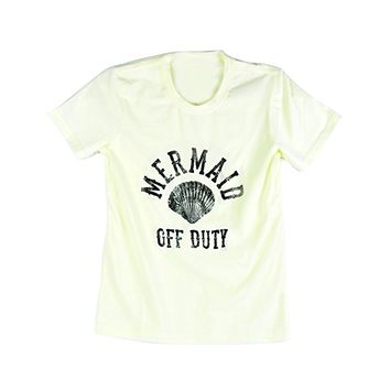 Emeri Unisex Adult's Mermaid Off Duty Shell Quotes Cotton Tshirt