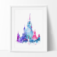 Art Print, Disney Castle Art Print, Disney Castle Art, Wall Art Print, Art Print Poster, Fine Art Print, Art print watercolor (220)