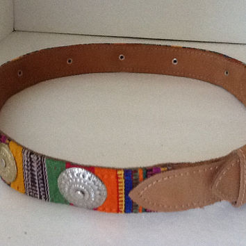 Belt,Leather,Guatemalan,Small Metal Conchos