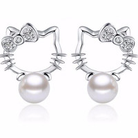 Silver Pearl Fashion Hello Kitty Earrings