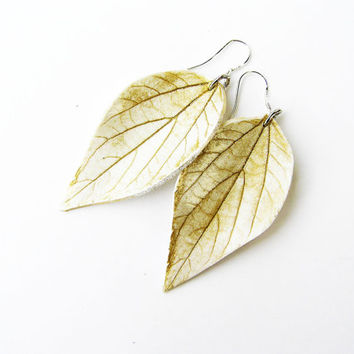 White and gold earrings- white dangle earrings- white leaf earrings- sterling silver hooks- contemporary - trending-polymer clay earring