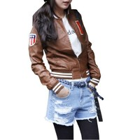 Women Autumn New Long Sleeve Stand Collar Letter Prints Jacket Brown XS