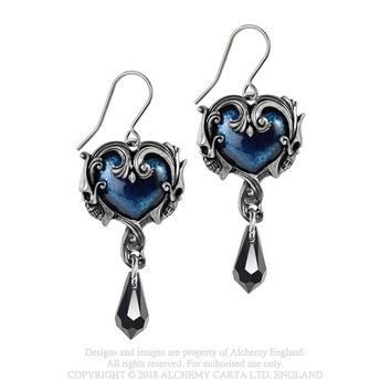 Alchemy Gothic Affaire Du Coeur Blue Heart & Black Teardrop Earrings