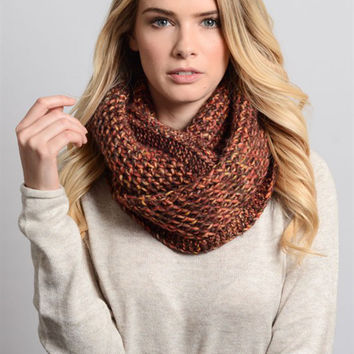 Multi Color Chunky Knit Infinity Scarf-Rust