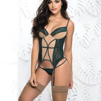 Green & Nude Garters and Lace Thong