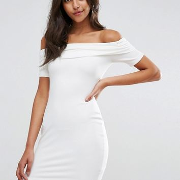ASOS Super Soft Deep Bardot Mini Bodycon Dress at asos.com