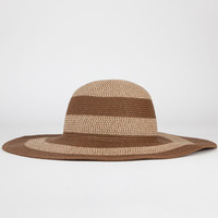 Striped Womens Floppy Hat Brown One Size For Women 21517640001