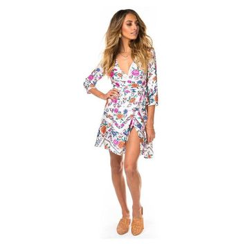 Mini Wrap Dress 3/4 Sleeve Sexy V-Neck Short Dresses 2018 Spring Floral Print Bohemia Holiday Boho Chic Women Dress Vestido