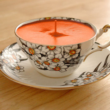 "Teacup Candle - Victoria C&E China ""Narcissus"" Fine Bone China Soy Wax Tea Cup Candle - your choice scent"