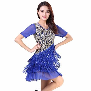 Adult Dance Performance Paisley Sequined Fringe Women Dress V Collar Short Sleeve Layered Modern Dance Latin Dress