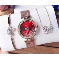 """Swarovski"" High Quality Stylish Women Delicate Diamond Quartz Watch Wristwatch Necklace Bracelet Three Piece Set"