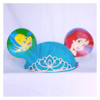 Disney Little Mermaid Ariel Inspired Hand Painted Ear Hat with Tiara and Bow Details