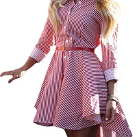 Red Mixed Stripe Long Sleeve Dipped Hem Shirt Dress
