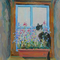 """Cat paintings, """"Black-and-white cat and flowers on the window"""", Original Oil Painting, Impasto, Canvas, Hardboard, Gift, Decor, Anniversary"""