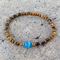 Tiger's Eye and Blue Agate Fine Faceted Gemstone Bracelet