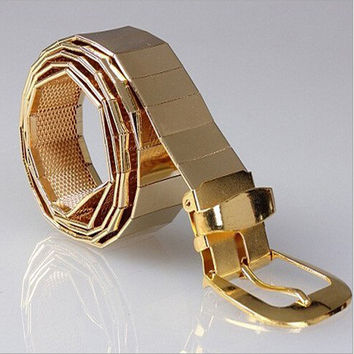 The new 2015 men cool fashion all metal alloy belts Men leisure pin buckle metal belts / silver golden Black Men and women belts