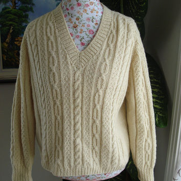 Ready to be shipped /Gorgeous Hand Knitted-HANDMADE Cream aran fisherman sweater for women or men/unisex