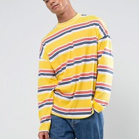 ASOS Oversized Stripe Long Sleeve T-Shirt In Yellow at asos.com