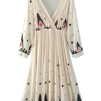Beige Plunge Neck Embroidery Pattern Long Sleeve Dress