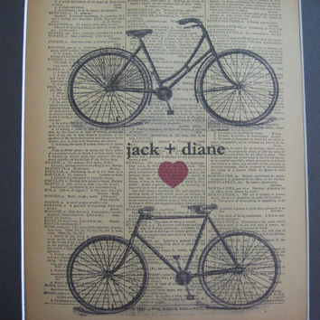 Bicycle Art Print  - Wedding - Anniversary - Custom and Personalized- Names - His and Hers