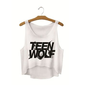 Running Vests Jogging Black Teen Wolf Short Tanks Tops Cropped Ladies Active Loose Fit s White Sleeveless Crew Neck Camisole Sexy Singlets KO_11_1
