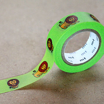 Lion Green Tape, Lisa Larson - Japanese Washi Paper Masking Tape - Animal Tape, Funny Art Supply, Kawaii Deco Collage, Gift Wrapping Sticker