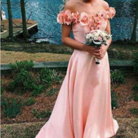 New Arrival Off the Shoulder A Line Pink Satin Long Prom Dress with Flowers