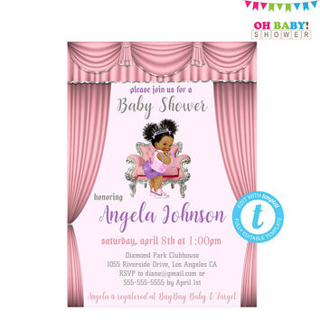 African American Baby Shower Invitations Girl Printable, Princess Baby Shower Invitation, Invitation Templates, Editable, Templett, BBPSL