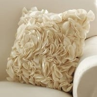Ruffle Petal Accent Pillow Cover Brown