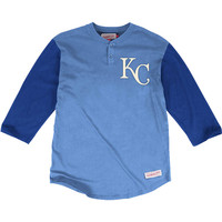 Mitchell and Ness Kansas City Royals Mens In the Clutch Henley Fashion - Light Blue