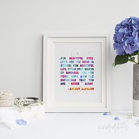 Audrey Hepburn Quote 2 Watercolor Art Print