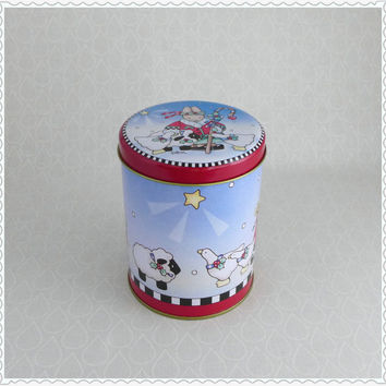 Daisy Kingdom Tin, Christmas Star, Metal Canister, Farm Animal Tin, Vintage 1990, Rabbit Sheep Cow Geese, Red Blue Green, Storage Container