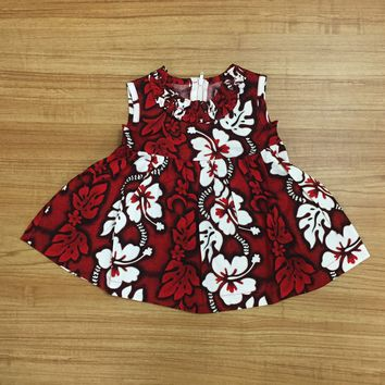KY's Red and White Hibiscus Girls Aloha Dress