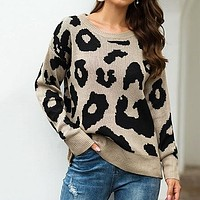 Leopard Print Winter Casual Sweater Women Streetwear Round Neck Long Sleeve Solid Ladies Basic Sweaters