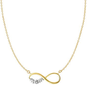 14K Two Tone Yellow And White Gold Infinity Pendant With Script Mom On 18 Inch Necklace