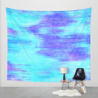 Ocean Blur - Abstract in Mint, Purple, & Royal Blue Wall Tapestry by TigaTiga Artworks