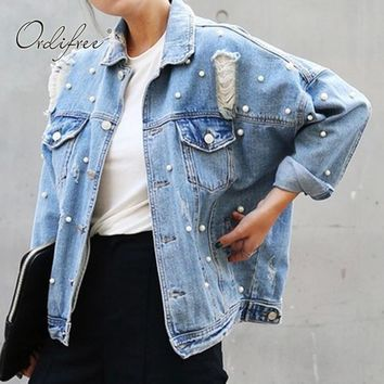 Trendy Ordifree 2017 Autumn Oversized Women Denim Jacket Coat Outwear Pearl Light Blue Ripped Women Jeans Jacket AT_94_13